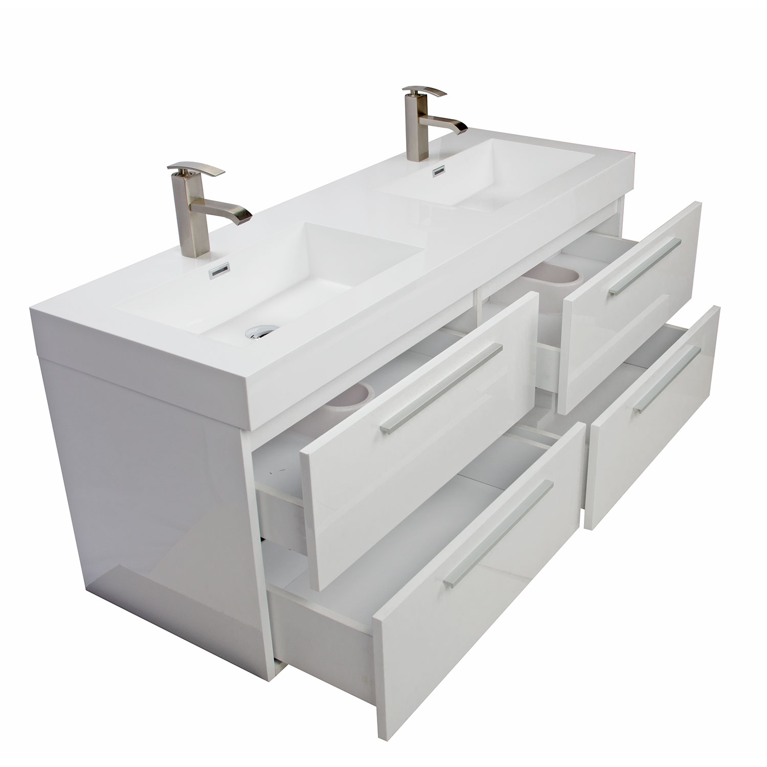 Buy 54 inch modern double sink vanity set with drawers gloss white tn b1380 hgw - Modern bathroom vanity double sink ...