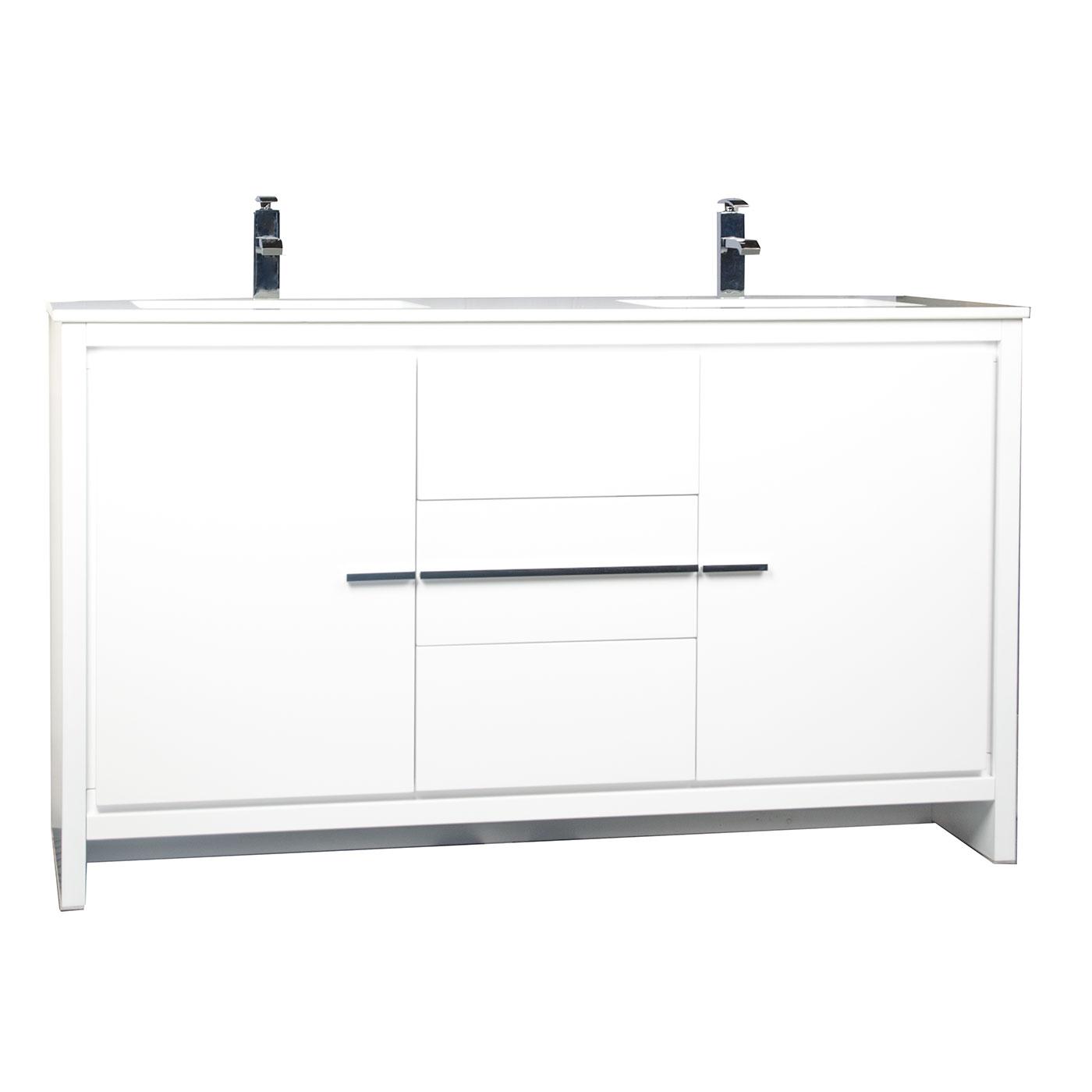 Buy CBI Enna 59 Inch Modern Bathroom Vanity In White TN-LA1510-HGW On ConceptBaths.com