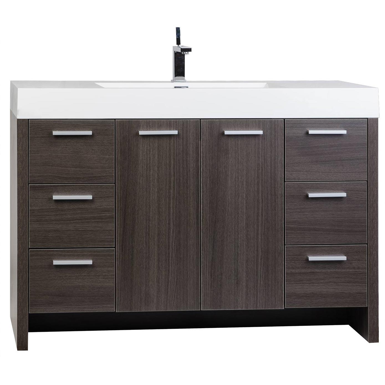 Buy inch modern bathroom vanity grey oak finish tn for Oak bathroom vanity