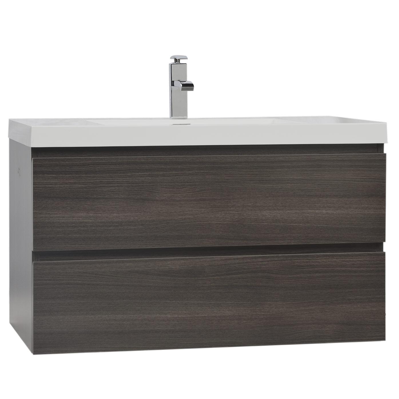 Buy Angela 35 5 In Wall Mount Bathroom Vanity in Grey Oak TN