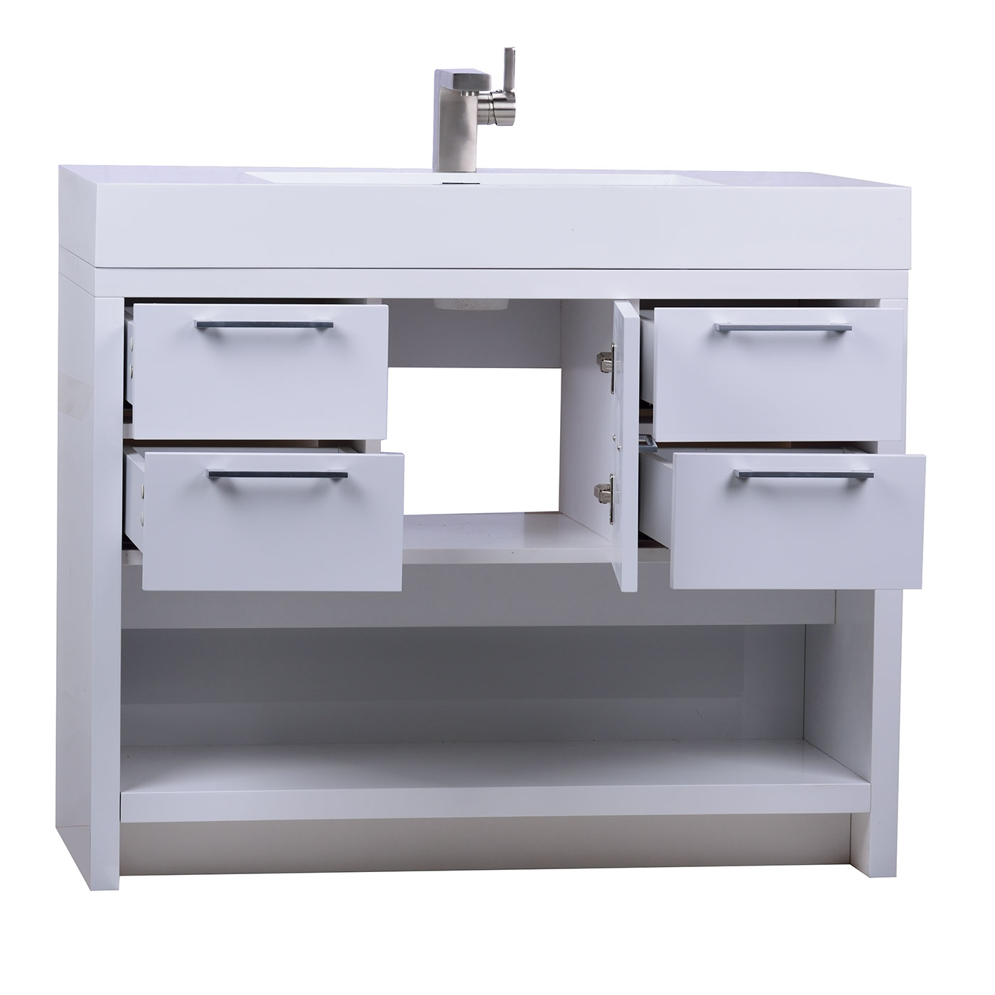 Lodi 40 Inch Modern Bathroom Vanity High Gloss Whtie Finish Tn L1000 Hgw