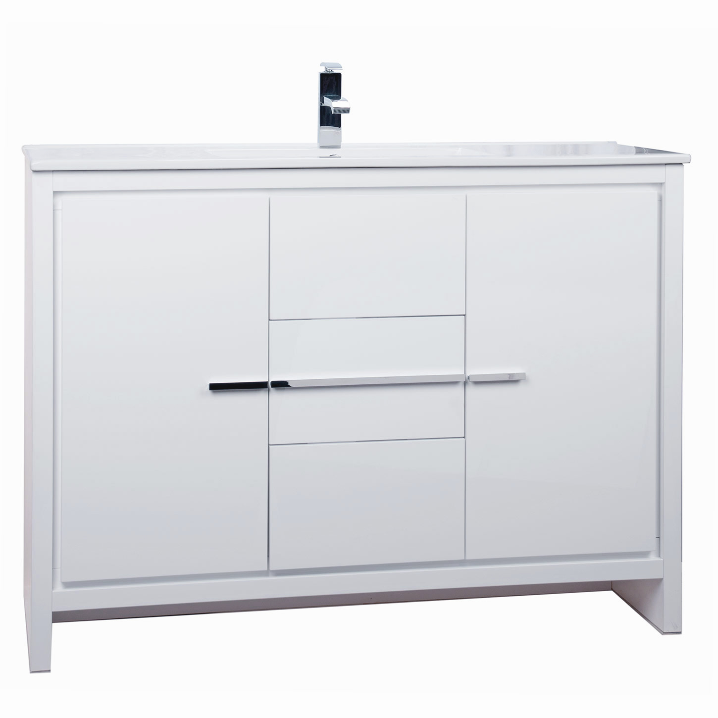 CBI Enna 48 Inch Modern Bathroom Vanity High Gloss White TN LA1200C HGW