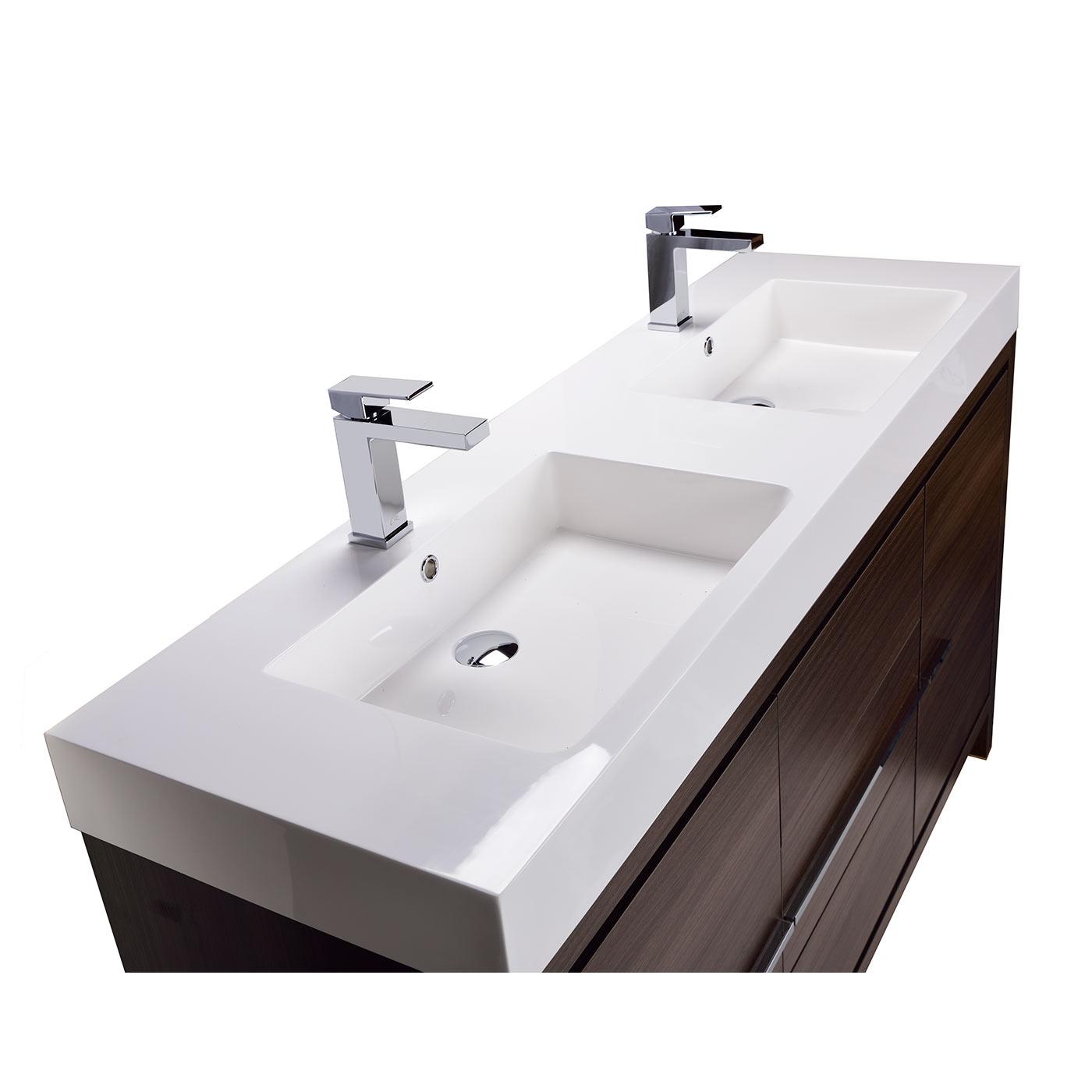 CBI Alice 59 Inch Modern Bathroom Vanity In Grey Oak TN LA1500 1 GO
