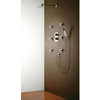 "Oceanus Triple Thermostatic Shower Valve with Diverter with Fixed 8"" Shower Head, 6 Body Jets, Hand Shower CL-JDL-8858300"