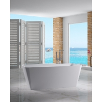 "65"" x 28.6"" Solid Surface Freestanding Soaking Bathtub"