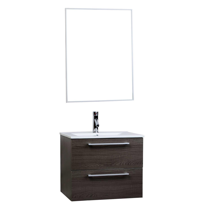 Caen 24 Wall Mounted Single Bathroom Vanity Set In Oak Optional Mirror Rs Dm600