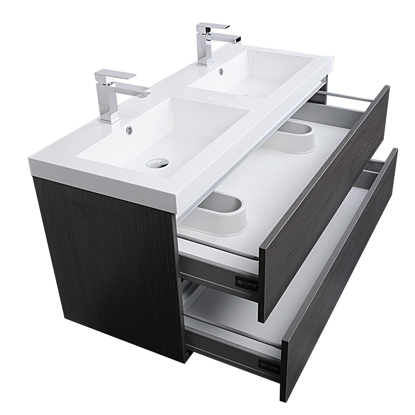 Buy Valencia 47 Inch Wall-Mount Double Bathroom Vanity Set ...