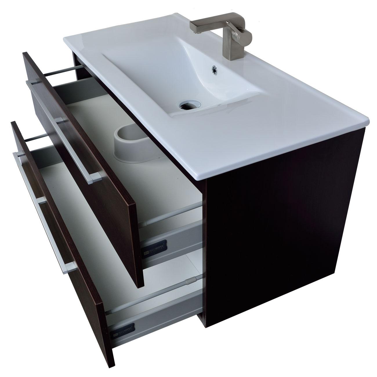 Buy Caen 40 Wall Mount Modern Bathroom Vanity Set Espresso Optional Mirror Rs Dm1000 Wg On Conceptbaths Com Free Shipping