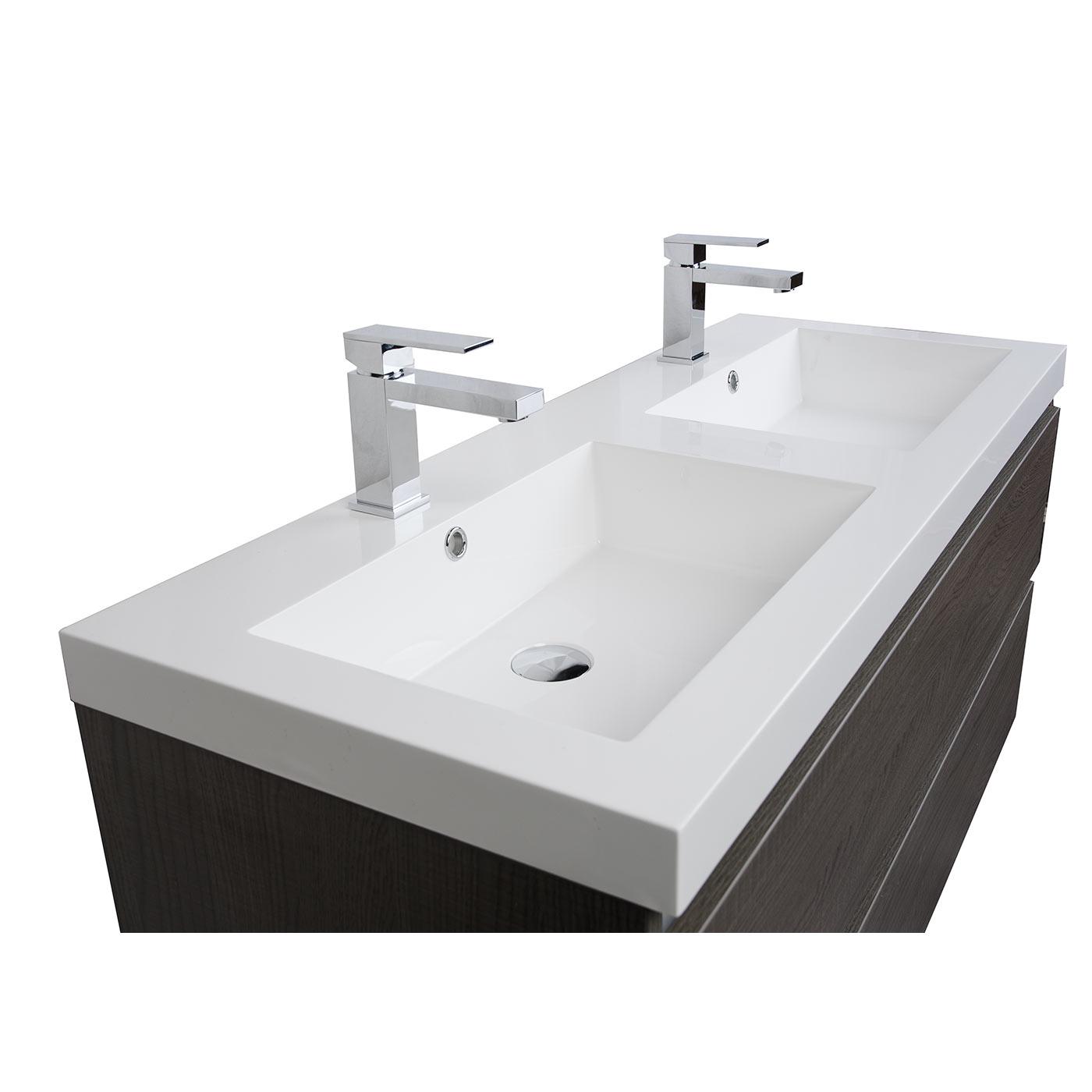 Buy Valencia 47 Inch Wall Mount Double Bathroom Vanity Set Grey Oak Optional Mirror Rs Dg1200 Oak On Conceptbaths Com Free Shipping