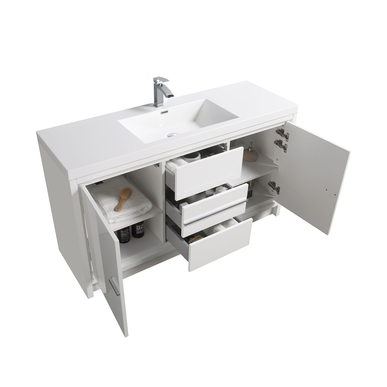 Buy Cbi Enna 59 Inch Single Modern Bathroom Vanity In High Gloss White Tn La1500s Hgw On Www Conceptbaths Com Free Shipping
