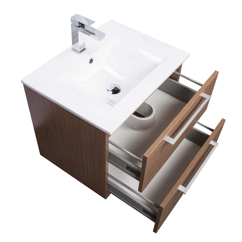 Caen 24 Wall Mounted Single Bathroom Vanity Set In Light Oak Optional Mirror Rs Dm600 Lok Conceptbaths Com