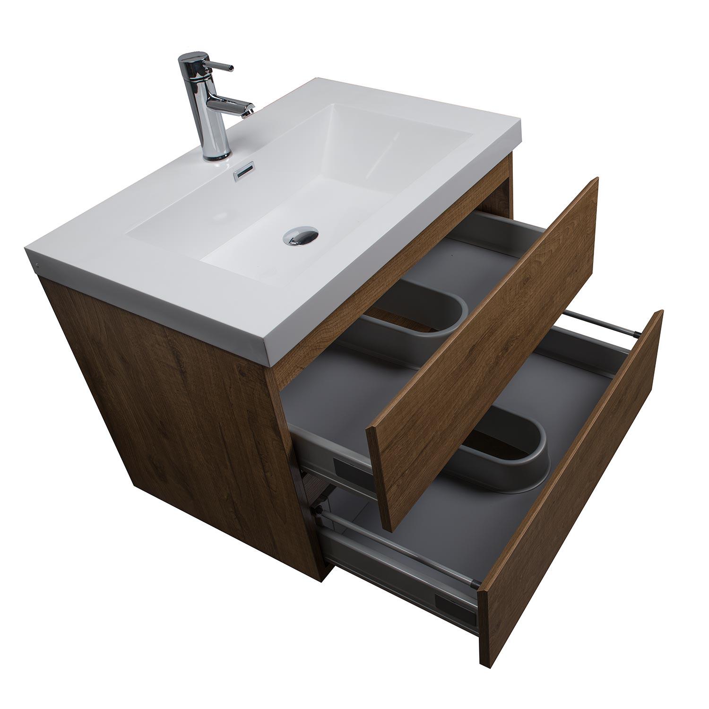 Buy Angela 30 Inch Wall Mount Bathroom Vanity Danish Teak Tn Ag750 Dt Conceptbaths Com Free