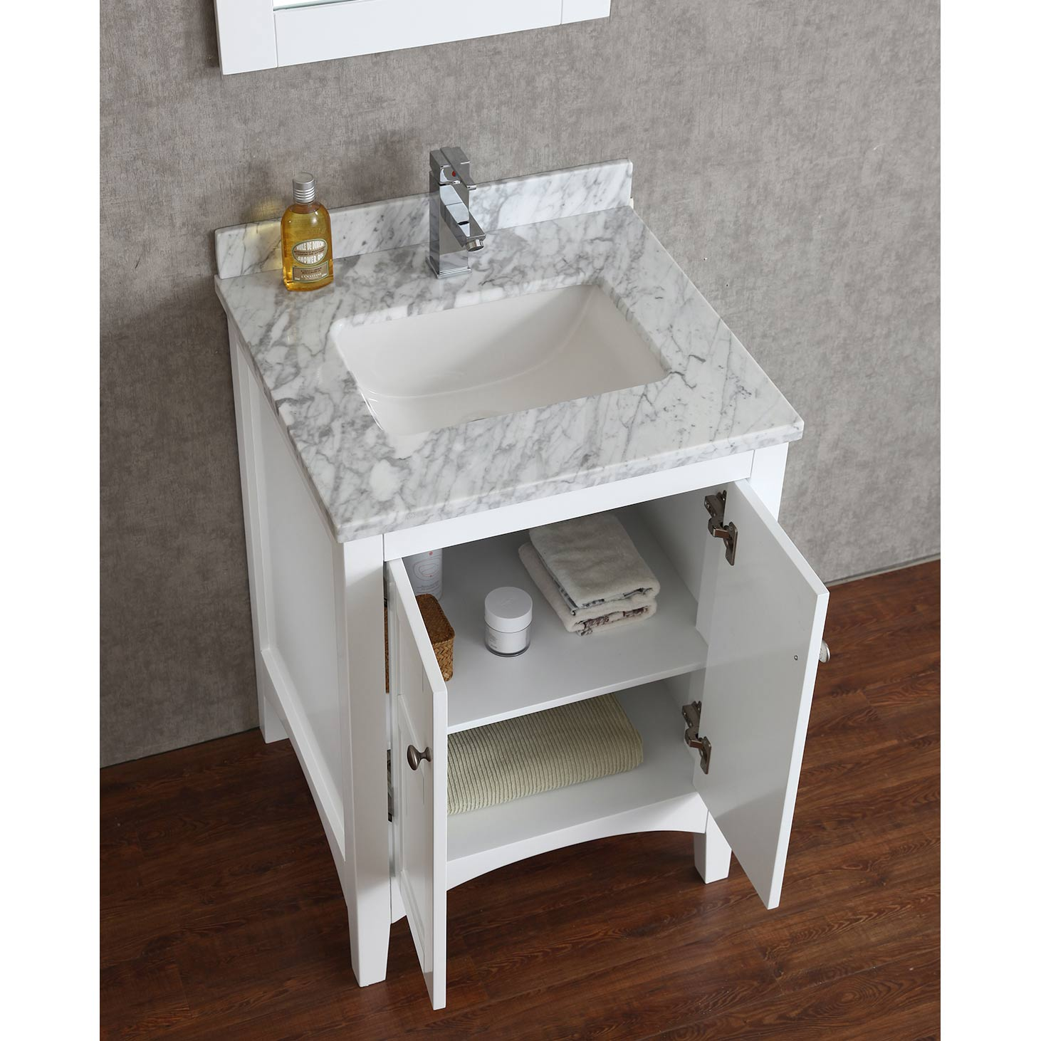 Buy Martin 24 Solid Wood Single Bathroom Vanity In White Hm 001 24 Wmsq Wt Conceptbaths Com