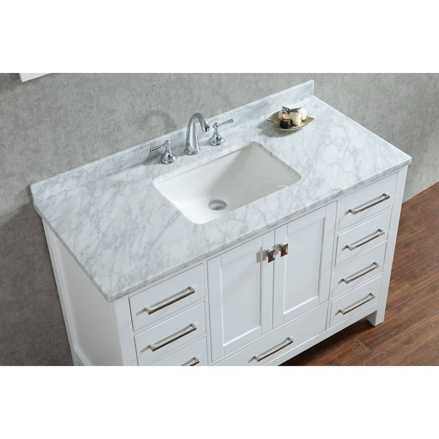 Buy Vincent 48 Inch Solid Wood Single Bathroom Vanity In White Hm 13001 48 Wmsq Wt Conceptbaths Com