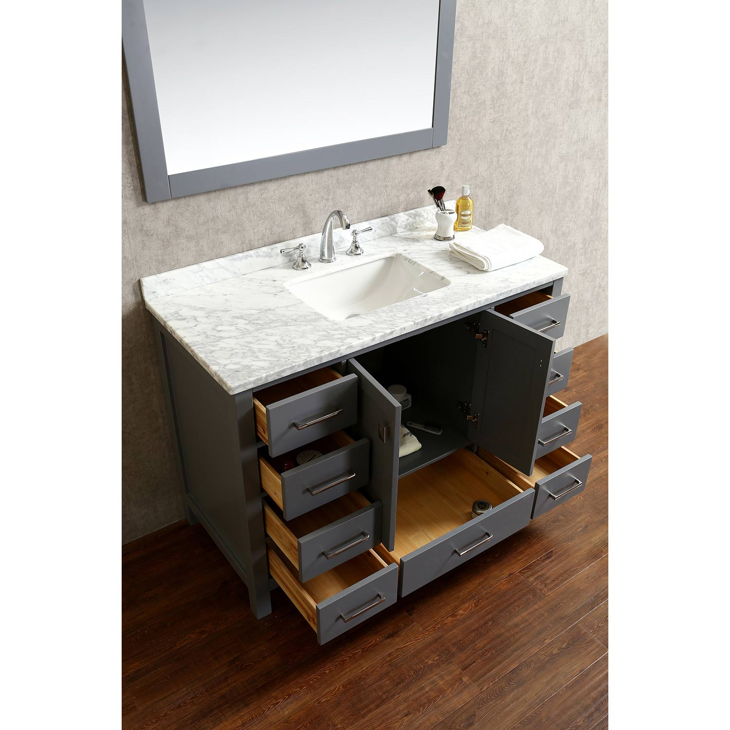 Vincent 48 Solid Wood Single Bathroom Vanity In Charcoal Grey Hm 13001 Wmsq Cg