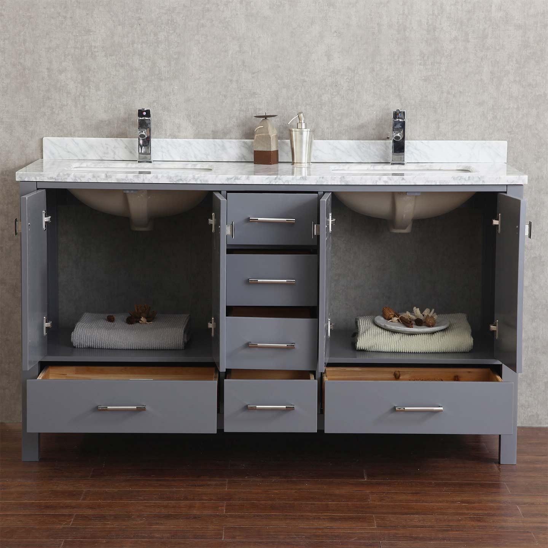 Vicent 60 Solid Wood Double Bathroom Vanity In Charcoal Grey Hm 13001 Wmsq Cg