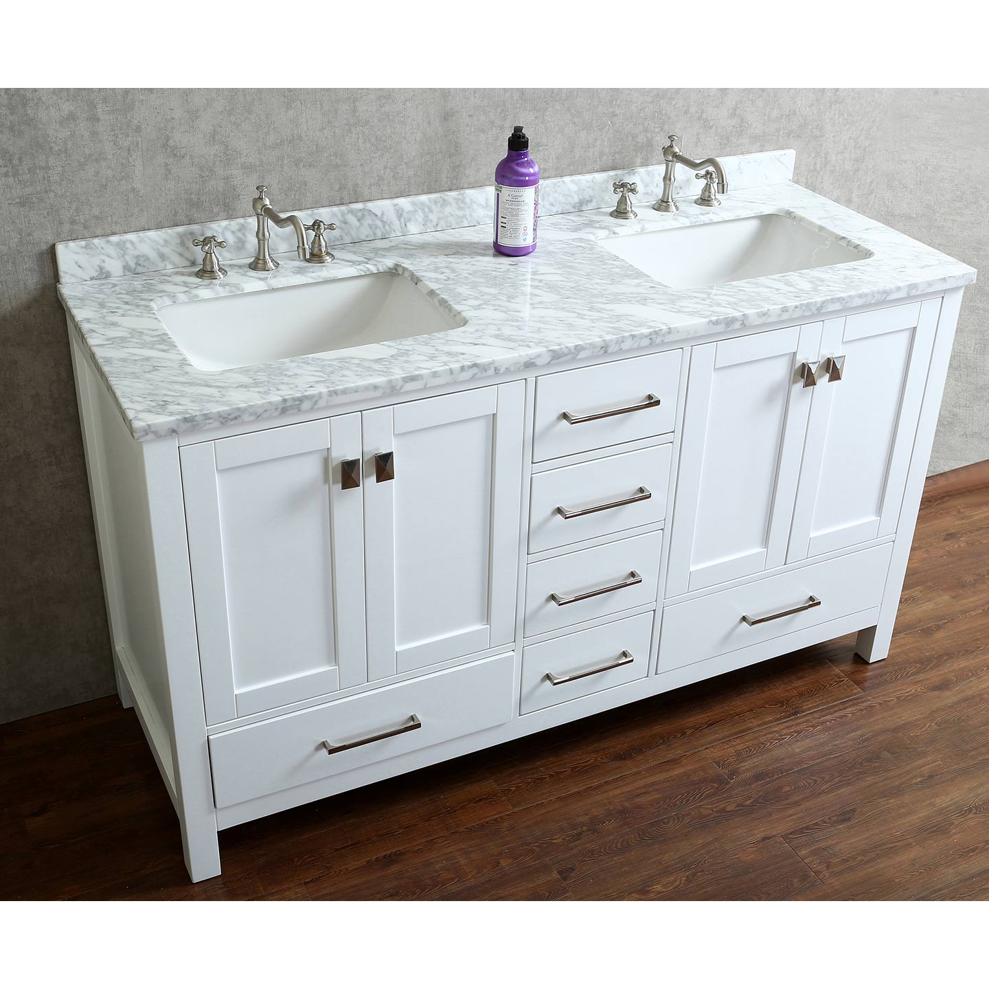 "Buy Vincent 60"" Solid Wood Double Bathroom Vanity in White ..."