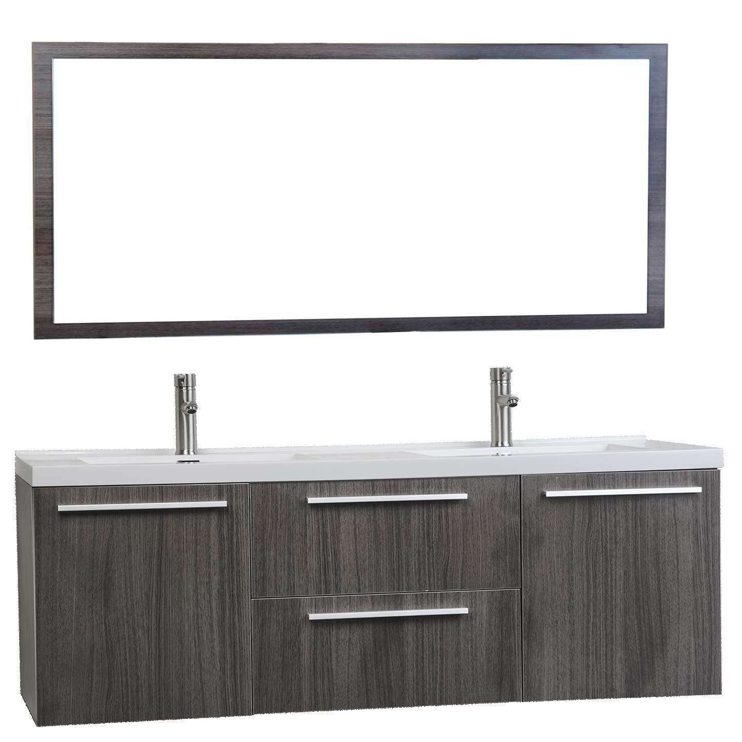 59 Inch Wall Mounted Modern Double Vanity In Grey Oak Tn Nt1500d Bathroom Vanities San