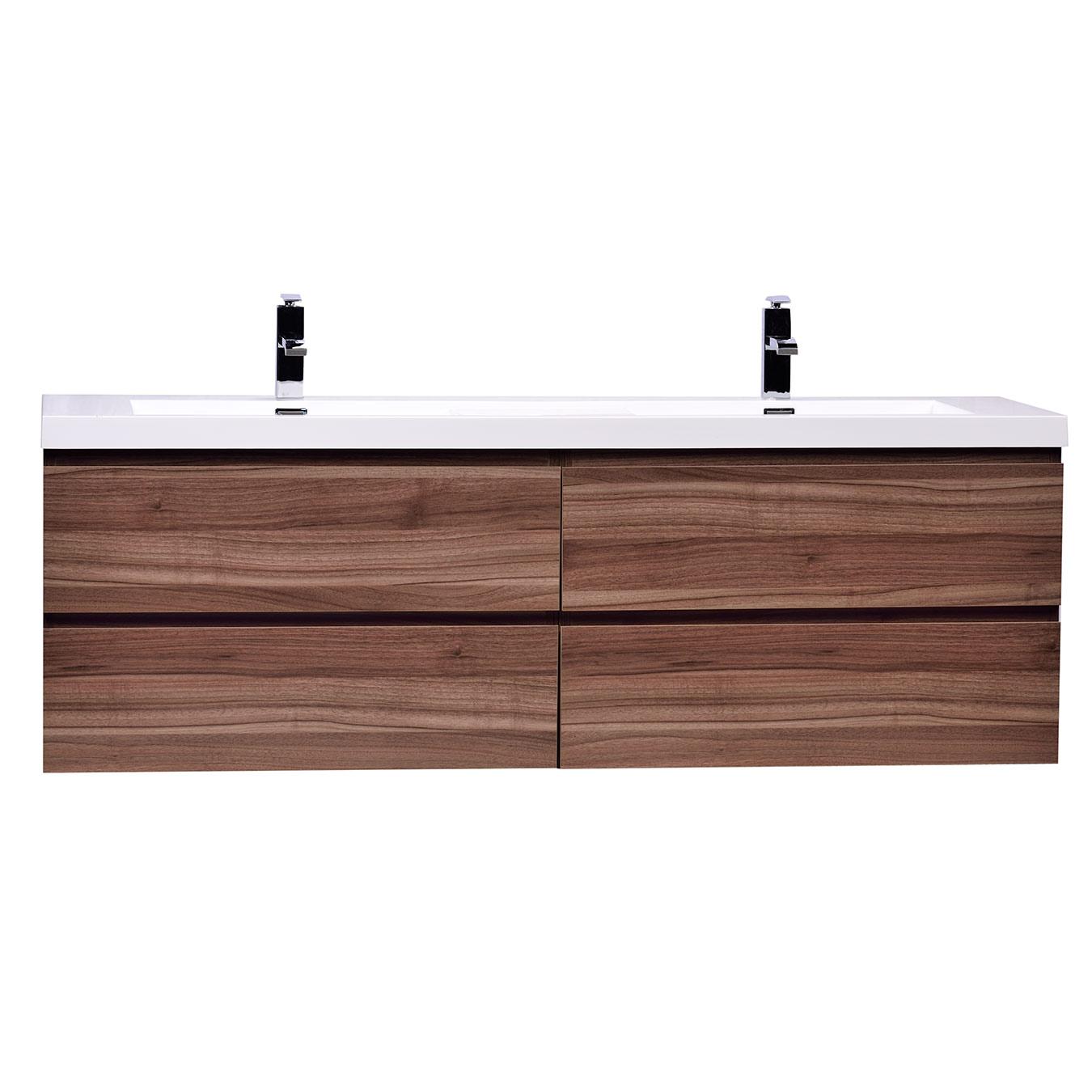 Angela 63 Wall Mount Bathroom Double Vanity In Walnut Tn Ag1600 Wn