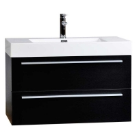 "35.5"" Wall-Mount Contemporary Bathroom Vanity Walnut TN-M900-BK"