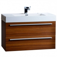 "35.5"" Wall-Mount Contemporary Bathroom Vanity Teak TN-M900-TK"