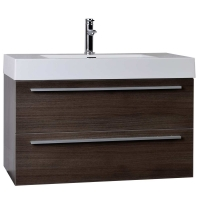 "35.5"" Wall-Mount Contemporary Bathroom Vanity in Grey Oak TN-M900-GO"