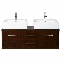 "48"" Modern Double-sink Vanity Set with Doors and Drawers Iron Wood VM-V11045-IRW"