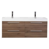 "54"" Modern Double-sink Vanity Set with Drawers - Walnut TN-B1380-WN"