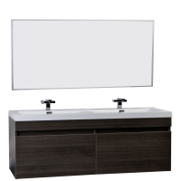 "57"" Double Sink Vanity Set with Wavy Sinks in Grey Oak TN-A1440-GO"