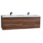 "Camino 67"" Modern Double Vanity Set Wall Mount in Walnut  Optional Mirror TN-A1710-WN"