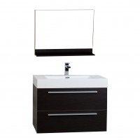 "31.5"" Wall-Mount Contemporary Bathroom Vanity Mirror Set Espresso TN-M800-WG"