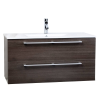 "Caen 40"" Wall-Mount Modern Bathroom Vanity Set Grey Oak Optional Mirror RS-DM1000-GO"