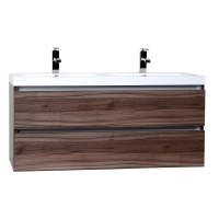 "Valencia 48"" Wall-Mount Double Bathroom Vanity Set Walnut Optional Mirror RS-DG1200-WN"