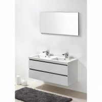 "Valencia 47"" Wall-Mount Double Bathroom Vanity Set Glossy White RS-DG1200-HGW"