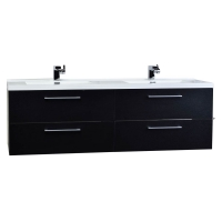 "Camino 67"" Modern Double Vanity Set Wall Mount Matt Black TN-A1710-BK"