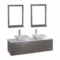 "Siena Solid Wood 72"" Wall-mounted Double Bathroom Vanity Set VM-VAW1-72-LGO"
