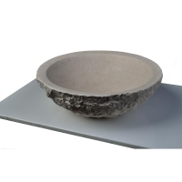 Maude Blue Stone Round Vessel Sink with Chiseled Exterior