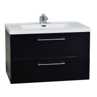 "33.5"" Wall-Mount Contemporary Bathroom Vanity Set Matt Black TN-TA860-BK"