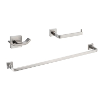CBI Milano 3 Piece Bathroom Hardware Set in Brushed Nickel AV-BA05-B