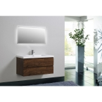 "Angela 41.9"" Wall-Mount Bathroom Vanity in Rosewood TN-AG1200-1-RW"