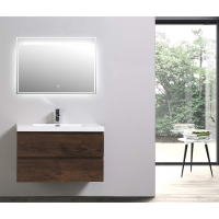 "Angela 35.4"" Wall-Mount Bathroom Vanity in Rosewood TN-AG900-1-RW"