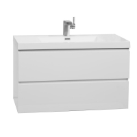 "Angela 35.5"" Wall-Mount Bathroom Vanity in High Gloss White TN-AG900-HGW"