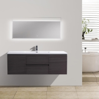 "59"" Angela Wall Mounted Modern Single Vanity in Char Oak TN-AG1500-1S-CO"