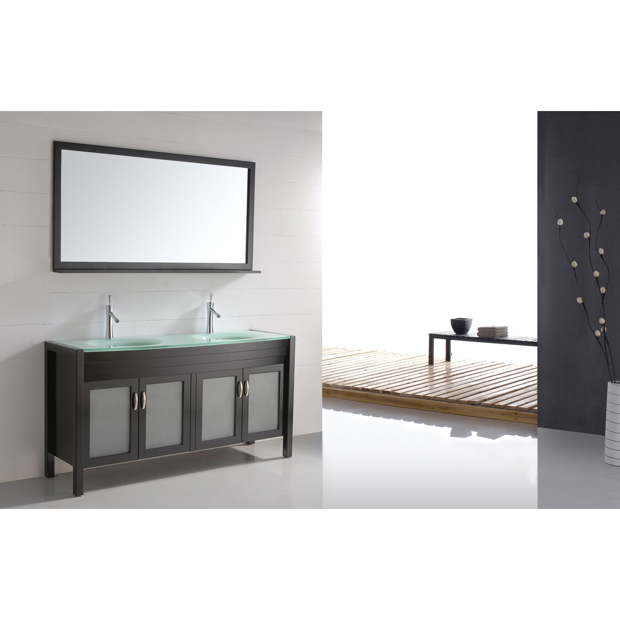 60 Solid Wood Double Sink Bathroom Vanity Glass Top Free Shipping Espresso Cb6011 Conceptbaths Com
