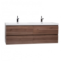 "Angela 59"" Contemporary Double Wall Mounted Walnut TN-AG1500D-WN"