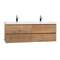 "Angela 59"" Contemporary Double Wall Mounted Natural Oak TN-AG1500D-NO"