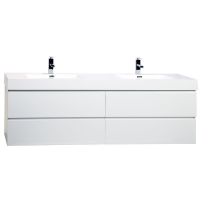 "Angela 71"" Wall Mounted Double Bathroom Vanity Glossy White TN-AG1810-HGW"
