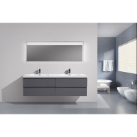 "Angela 71"" Contemporary Double Wall Mounted High Gloss Grey TN-AG1800-1-HGCG"