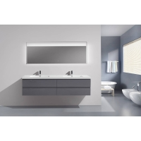 "Angela 83.4"" Contemporary Double Wall Mounted High Gloss Charcoal Grey TN-AG2120-1-HGCG"