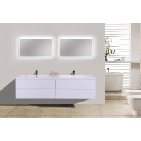 "Angela 83.4"" Contemporary Double Wall Mounted High Gloss White Grey TN-AG2120-1-HGW"